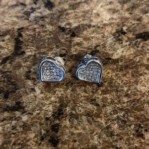 Princess cut heart shaped diamond earrings